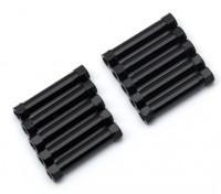 Leve de alumínio redonda Seção Spacer M3x26mm (Black) (10pcs)