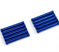 Leve de alumínio redonda Seção Spacer M3x26mm (azul) (10pcs)