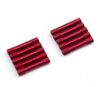 Leve de alumínio redonda Seção Spacer M3x29mm (vermelho) (10pcs)