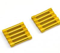 Leve de alumínio redonda Seção Spacer M3x30mm (ouro) (10pcs)