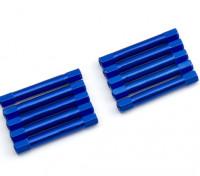 Leve de alumínio redonda Seção Spacer M3x37mm (azul) (10pcs)