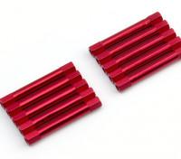 Leve de alumínio redonda Seção Spacer M3x37mm (vermelho) (10pcs)
