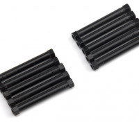 Leve de alumínio redonda Seção Spacer M3x38mm (Black) (10pcs)