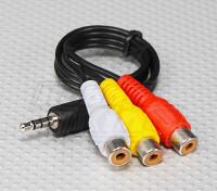 3,5 mm para RCA A / V Plugs de chumbo (300 milímetros)
