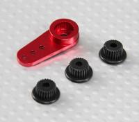 Alumínio One-way Universal Servo Arm - JR, Futaba & HITEC (vermelho)