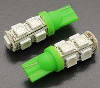 LED milho luz 12V 1.8W (9 LED) - Verdes (2pcs)