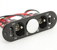 Médio direito duplo Futaba / JR interruptor arnês com Construído em tomadas e Dot Combustível