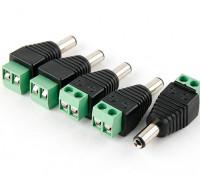 2,1 milímetros DC Power Plug com Screw Terminal Block (5pcs)