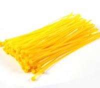 Cintas 200 milímetros x 4 milímetros amarelas (100pcs)