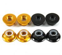 Aluminum Flange Low Profile Nyloc Porca M5 (4 Black CW & 4 CCW Gold)