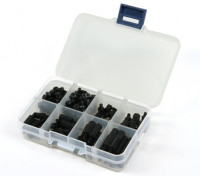 Kit M3 Nylon Spacer Screw Nut Assorted w / Box (Black) (180pcs)