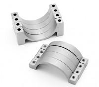 Prata anodizado CNC tubo de liga semicírculo grampo (incl.screws) 22 milímetros