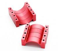 Red anodizado CNC tubo de liga semicírculo grampo (incl.screws) 28 milímetros