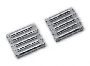 Leve de alumínio redonda Seção Spacer M3x30mm (prata) (10pcs)