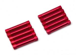 Leve de alumínio redonda Seção Spacer M3x30mm (vermelho) (10pcs)