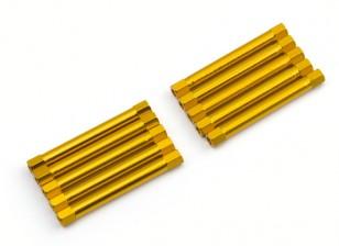 Leve de alumínio redonda Seção Spacer M3x45mm (ouro) (10pcs)