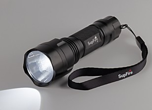 caixa branca Strap lanterna mão M7 (com suporte de bateria AAA)