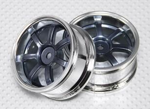Escala 1:10 conjunto de rodas (2pcs) Grey / Chrome 5 raios 26 milímetros RC Car (3mm offset)