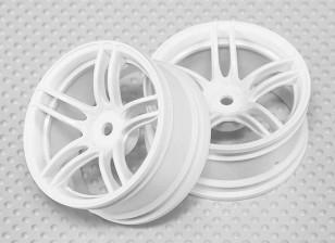 Escala 1:10 conjunto de rodas (2pcs) Branco de Split 5 raios RC 26 milímetros Car (3mm offset)