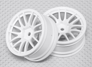 Escala 1:10 conjunto de rodas (2pcs) Branco de Split 7 raios RC 26 milímetros Car (3mm offset)