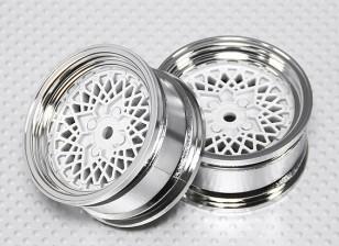 Escala 1:10 conjunto de rodas (2pcs) Chrome / Branco 'Fio Quente' RC 26 milímetros Car (No Offset)