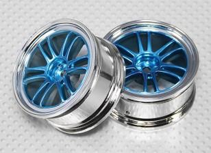 01:10 de rodas Scale Set (2pcs) Chrome / azul Divisão de 6 raios 26 milímetros RC Car (sem deslocamento)