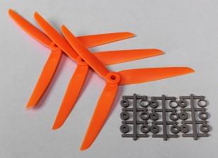 Hobbyking ™ 3 pás da hélice 7x3.5 Orange (CCW) (3pcs)