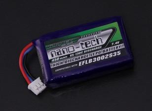 Turnigy nano-tecnologia 450mAh 2S 65C Lipo (E-flite Compatível - Blade 130x EFLB3002S35)