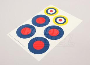 Escala da folha Força Aérea Nacional Insignia Decal - UK (Tipo B)