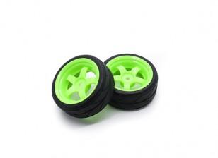 HobbyKing 1/10 roda / pneu Set VTC 5 Spoke (verde) RC 26 milímetros carro (2pcs)