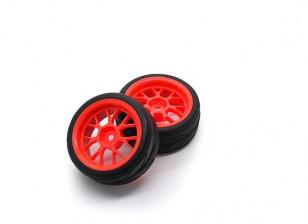 HobbyKing 1/10 roda / pneu Set VTC Y Raio (vermelho) RC 26 milímetros carro (2pcs)