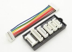 placa de adaptador para baterias 2S-6S LiPoly com HP / PQ Saldo Plugs