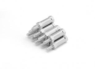 end leve redonda de alumínio Seção Spacer Com Stud M3 x 15mm (10pcs / set)