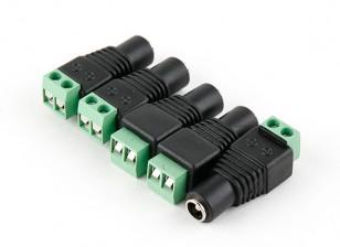 2,5 milímetros DC Power Tomada com Screw Terminal Block (5pcs)