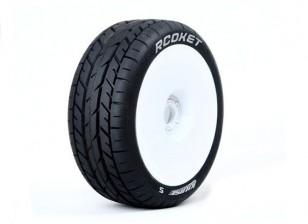 LOUISE B-ROCKET 1/8 Escala Buggy pneus de compostos macios / White Rim / Mounted