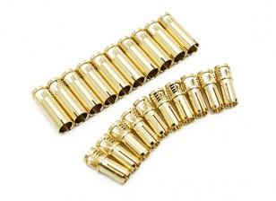 Conectores de bala 5 milímetros Supra X de ouro (10 pares)