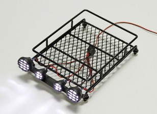 1/10 Roof Rack (Black) com holofotes Rodada