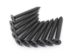 Screw Flat Head Phillips M4x30mm Self Tapping Steel Black (10pcs)