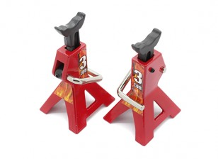 3 Ton Scale Jack Stands para 1/10 RC Scale Crawler - Red