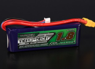 Turnigy nano-tecnologia 1800mAh 2S 25 ~ 50C Lipo pacote
