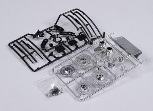 1/10 Escala Conjunto acessórios Inc Discos de freio / limpadores / Intercooler / Espelhos / Chrome Tailpipes