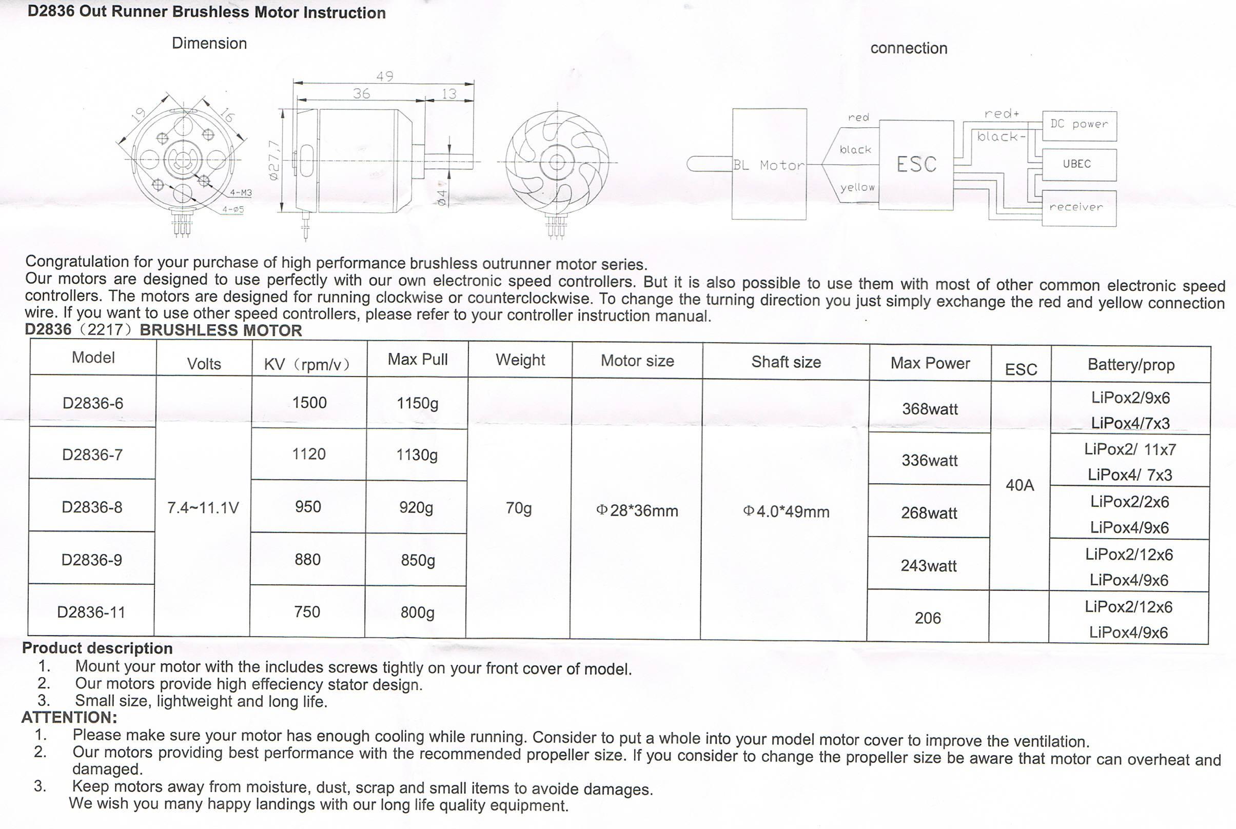 Turnigy D2836/8 1100KV Brushless Outrunner Motor