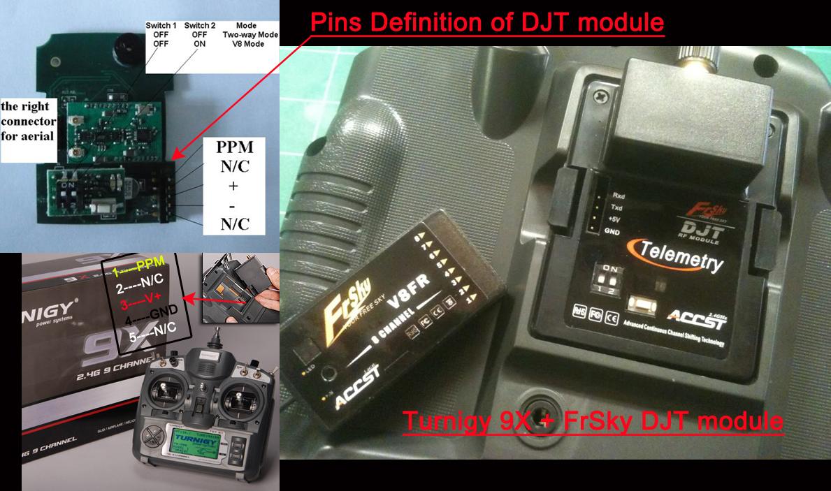 FrSky DJT 2 4Ghz Combo Pack for JR w/ Telemetry Module & V8FR-II RX