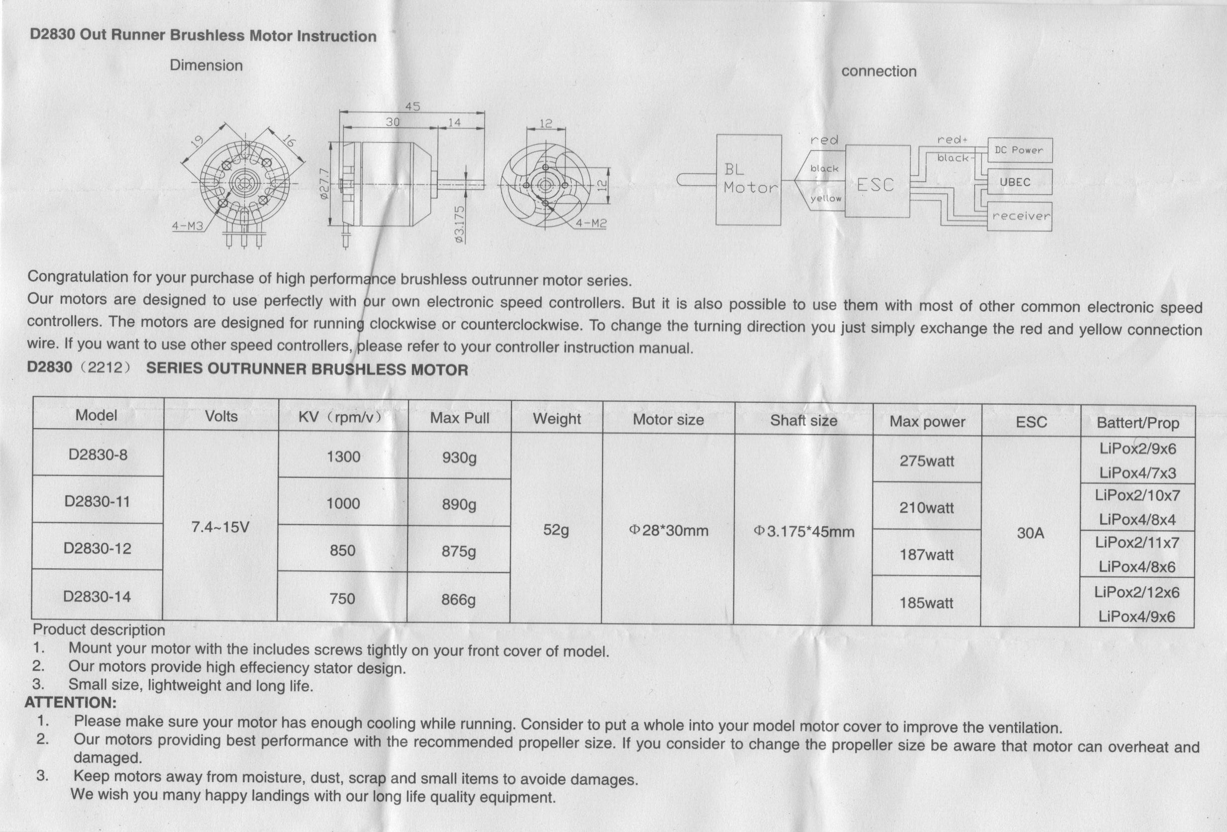 Turnigy D2830-11 1000kv Brushless Motor