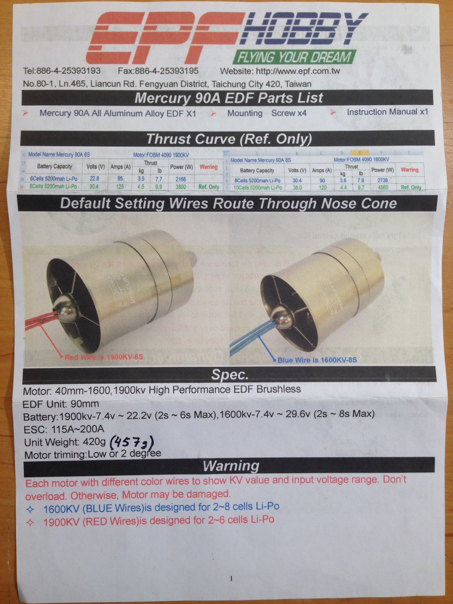 Mercury Alloy 12 Blade 90mm 1900kv EDF Unit (6s)
