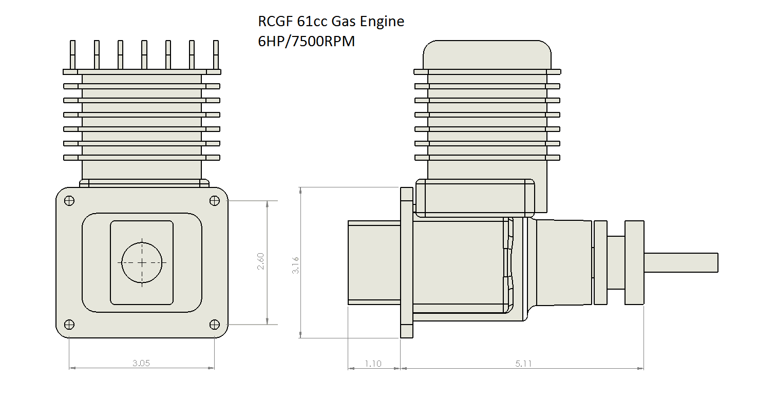 rcgf 61cc gas engine 6hp-7500rpm png